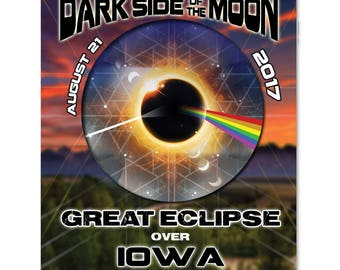 EC027 - Iowa - Dark Side of the Moon Total Solar Eclipse 2017 Sticker (or MAGNET)
