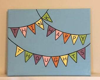 Think Happy Thoughts Multicolored Flags Banner Canvas, 8x10 in. Canvas