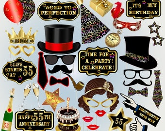 55th photo booth props printable birthday photobooth props party birthday party photo booth black and gold props black mustache lips props