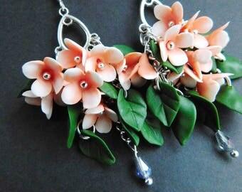 Flower earrings Girlfriend Gift for her Summer jewelry Coral earrings Botanical jewelry Womens jewelry Cute earrings Party jewelry