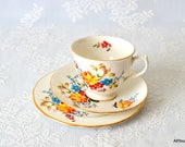 Pretty Floral Trio, Vintage Floral China, Vintage Gainsborough Bone China, Vintage Bone China, Vintage Wedding, Perfect Gift, c 1960 s