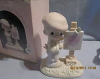 Precious Moments - Loving You Dear Valentine (Boy) - 1987 Members Only Figurine - PM-873