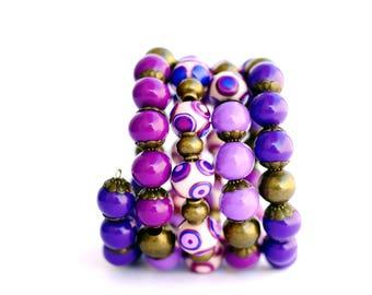 Multi wrap bracelet Wrap bangle bracelet Wrap beaded bracelet Purple wrap bracelet Memory wire bracelet Chunky bracelet Special jewelry OOAK