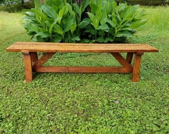 Farmhouse Rustic Wood Bench