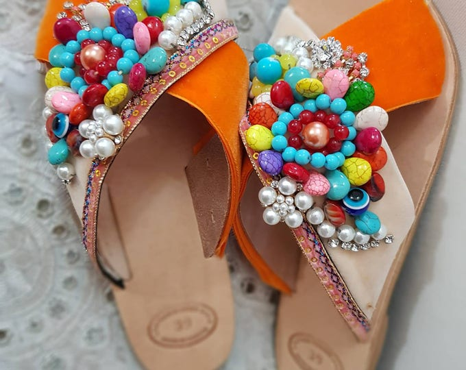 DHL FREE Greek sandals/embellised/beads sandals/genuine leather sandals/colorful sandals/crystals/sparkly/women's shoes,handmade/Strappy