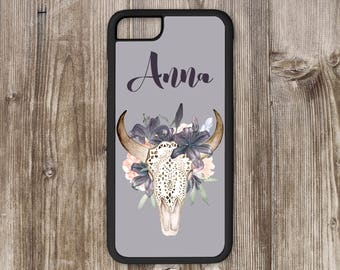 iPhone Case with Watercolor Skull and Flowers Personalized with Name, Custom iPhone Case for iPhone 5 through iPhone 7 Plus