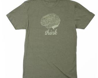 Technology shirt - THINK TECH T-shirt - Tech Guy - Gifts for Guys - STEM shirt - Story Spark t shirt - Brain