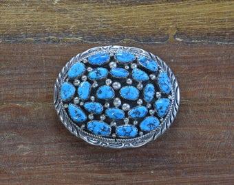Vintage Navajo Turquoise Cluster Sterling Silver Belt Buckle