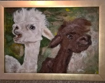needle felt picture of two beautiful baby alpacas made with alpaca wool
