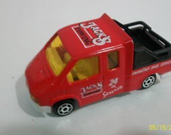 Vintage Majorette Movers Jack's Towing Red Ford Transit  Truck No. 243 Made in France  1/60 Scale Diecast Truck