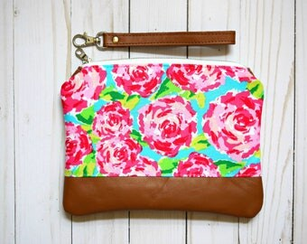 Ready to ship lily pulitzer wristlet, floral wristlet, summer wristlet, lily pulitzer wristlet, floral bag, lily pulitzer clutch, wristlet