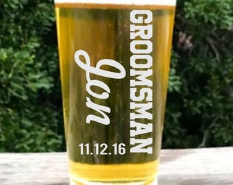 Personalized Beer Glass,  Groomsmen Gift, Craft Beer Glass, Engraved Beer Glass - Custom, Groomsman Favor,Best Man Gift, Father of the Bride