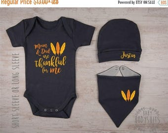 LATE SHIP SALE Baby Boy Thanksgiving Outfit, Mom and Dad are Thankful for me Graphite Gray Outfit, Baby Boy Bodysuit / Personalized Hat / Ba
