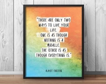 "Einstein Quote Poster ""Two ways to live your life"" Inspirational Print Inspiring Poster - 028"