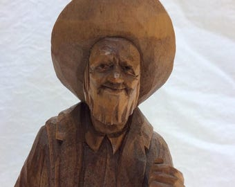 On Sale Handcarved butternut wood statue by  Quebec artist P E Caron.