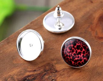 10pcs, 14mm Silver Plated Cabochon Stud Earring Settings, Silvery Cabochons Bezel, DIY Earrings Supply, Comes With Bullet Style Ear Nuts