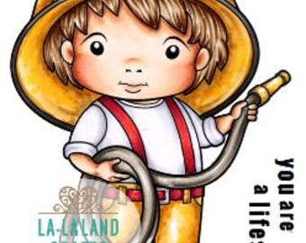 Lala Land Fireman Luka Rubber Stamp