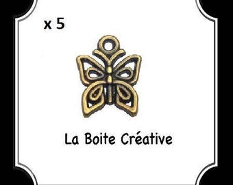 5 CHARM BUTTERFLY BEAD BUGS IN METAL BRONZE