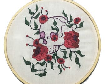 Hand Embroidered Skull and Roses