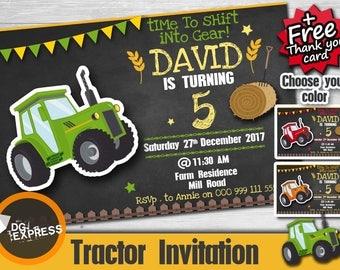 """Tractor Birthday Invitation - """"TRACTOR INVITATION"""" Digital Tractor Party Invite - Tractor Birthday Printable, Tractor Chalkboard Invite,"""