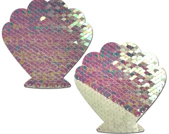 Pasties -  Mermaid: Pearl & White Color Changing Sequin Seashell Nipple Pasties by Pastease® o/s