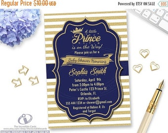50% OFF SALE Prince Baby Shower Invitation. Royal Blue and Gold. Crown Baby Boy. Our Little Prince is on the way. Gold Glitter Stripes. Prin