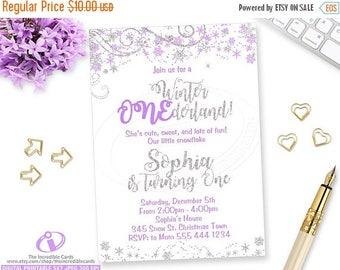 ON SALE WINTER Onederland Invitation, Winter Onederland, Winter Wonderland, 1st Birthday, Purple and Silver, Snowflake, Glitter