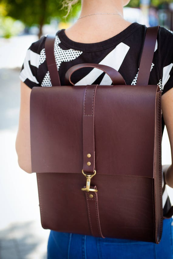 leather backpack women leather rucksack laptop backpack gift