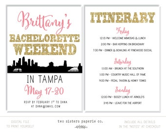 TAMPA Bachelorette Party Invitation and Itinerary - Tampa Bachelorette Invitation - Tampa Florida Itinerary - Printable Invitation