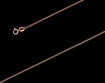 "14K Rose Gold Rollo Chain Necklace 1mm, 16"", with Spring Clasp"