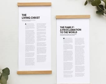 The Living Christ and The Family Proclamation (wood print rails included!) white, LDS art, modern typography design, letters and laurels
