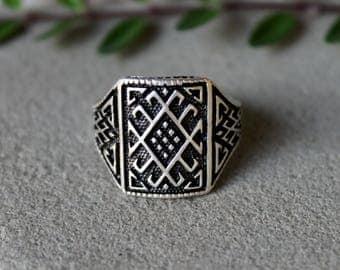 Men's Boho Ring, Men's Ethnic Ring, Men's Tribal Ring, Men's Brass Ring, Men's Bohemian Ring, Large Boho Ring, Antique Silver Men's Ring
