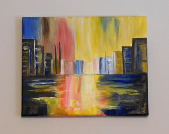 Cityscape, Original Art, Acrylic Painting, Colorful Wall Art, Painting on Canvas, Home Decor