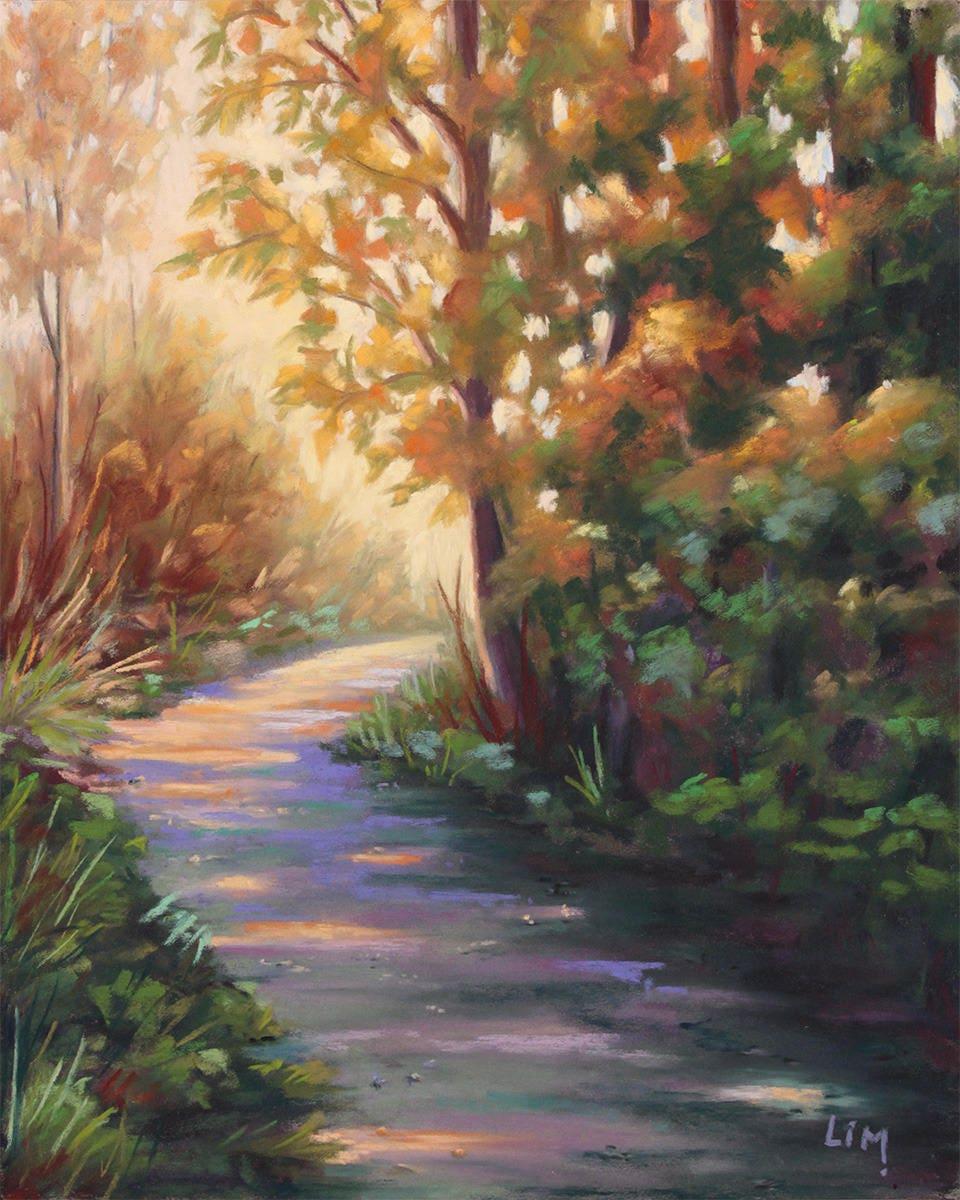 Peinture au pastel sec paysage de normandie chemin dans les - Peinture au pastel sec ...