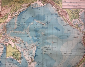 Ocean Depths Map Etsy - Pacific ocean depth map