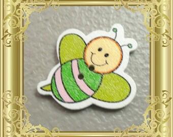 Bee Cross Stitch Needle Minder - Green