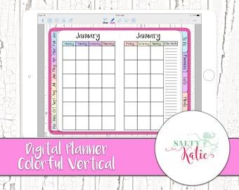 Digital Planner - Digital Planner for GoodNotes - Vertical Digital Planner for iPad - Colorful Vertical Digital Planner - GoodNotes Planner
