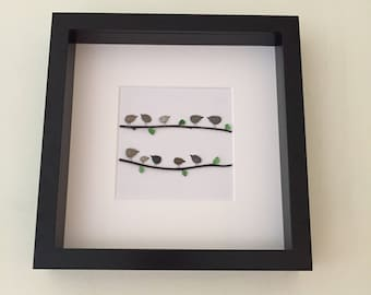 Pebble art, pebble art picture, family picture, bird picture, pebble picture, unique gift, family gift, personalised picture, wall art