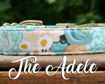Dog Collar Floral, Floral Collar, Girl Dog Collar, Blue Floral Dog Collar, Girly Dog Collar, Flower Dog Collar, Watercolor Floral Dog Collar