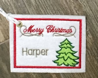 Personalized Embroidered Christmas Tree Gift Tag, Christmas Stocking Tag,  Christmas Embroidered Gift Tag,