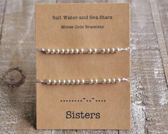 Sisters bracelet, sister gift, sister bracelets for 2, morse code bracelet, friendship bracelet, sister morse code, secret message, custom