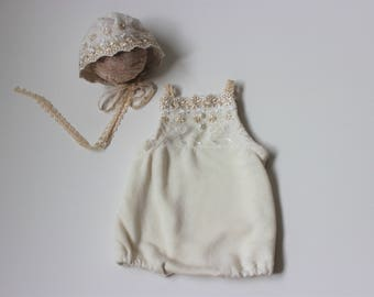 baby 1st birthday outfit, Baby Romper, Baby Girl Romper, lace baby romper, Cake Smash Girl Outfit, Photography Romper, Cream baby Romper