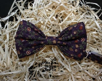 Violet Bow Tie with Flower, bow tie for man,mens bow tie, boys bow tie, wedding bow tie, bow tie man,grey polka dot bow tie