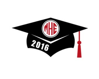 Graduation Cap Monogram with year Decal