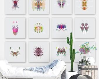 Rorschach Art - Collection of 12 Ink Blot - Psychology Art - Extra Large Wall Art | Science Art | Medical Art | Quantum Art