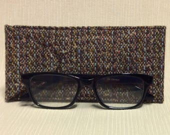 Welsh tweed glasses/spectacles case in brown mix