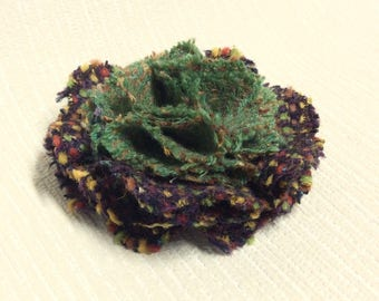 Welsh tweed flower brooch, corsage in green and dark brown