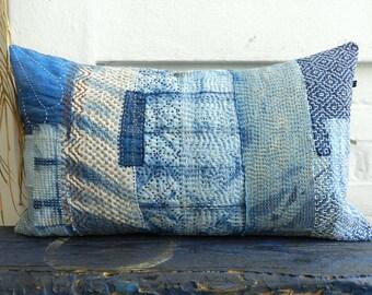 Sashiko Boro Indigo Pillow Kakishibu heavy Embroidery german vintage Linen Cushion White Sky Blue Patchwork Quilt 35x60 cm 14x24 inches