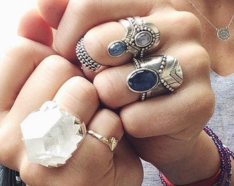 statement ring | crystal ring | gypsy jewelry | silver ring