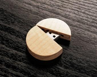 Set of 10 Round Wooden Maple USB 2.0 Flash Drive - Bulk Pack - USB 2.0 Wood Maple Round Body Design - Wood USB Flash Drive
